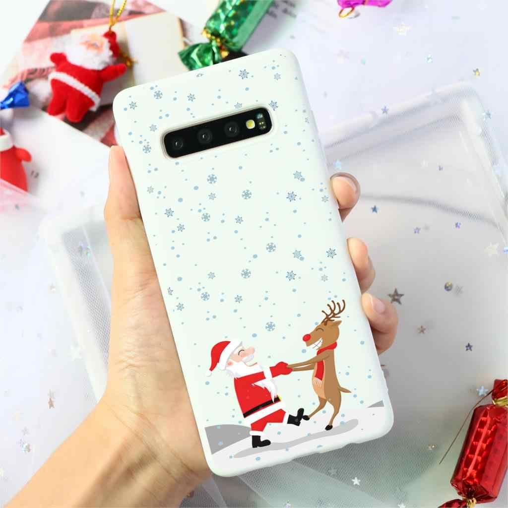 Noel silikon geyik yumuşak TPU samsung kılıfı Galaxy A50 A10 A30 A40 A70 A60 S10 S9 S8 A6 artı A7 A8 a9 2018 S7 S6 kenar durumda