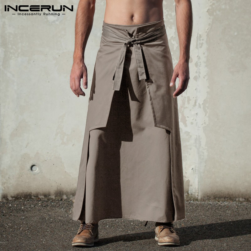 INCERUN Mens Pants  Skirts Solid Color Retro Streetwear Stylish Trousers Men Vintage Skirts
