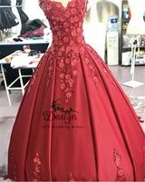 vestidos de 15 anos quinceanera 2019 Spaghetti Straps Sweetheart Neckline Ball Gown Red Satin Flowers Appliques Dresses Vestidos