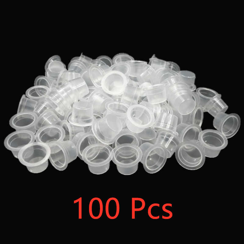 100pc S/M Plastic Wegwerp Microblading Tattoo Inkt Cups Permanente Make-Up Pigment Clear Houder Container Cap Tattoo Accessoire