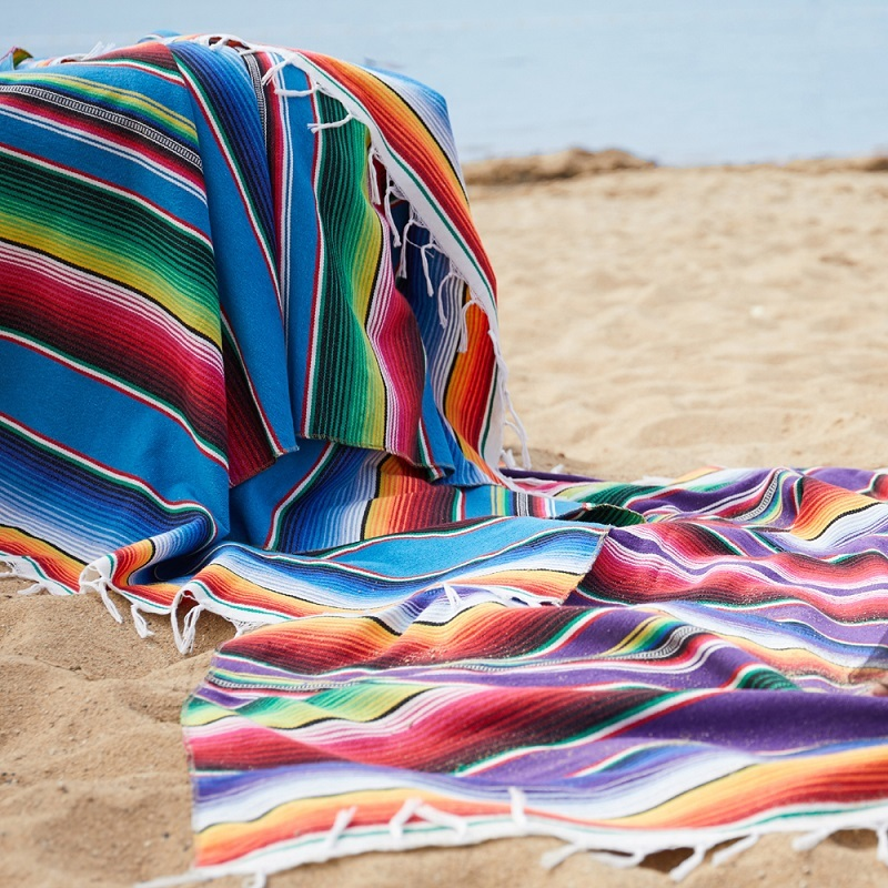 Cotton Mexican Indian Handmade National Wind Beach Blanket Rainbow Blanket Home Tapestry Beach Mat Picnic Mat image