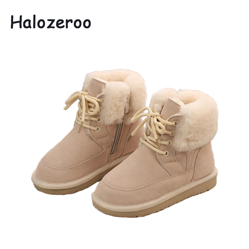 New Winter Kids Snow Boots Baby Girls Fur Ankle Boots Children Martin Boots Boys Brand Black Shoes Toddler Genuine Leather Boots