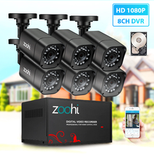 Zoohi CCTV camera System 6CH 720P/1080P AHD security Camera DVR Kit CCTV waterproof Outdoor home Video Surveillance System HDD