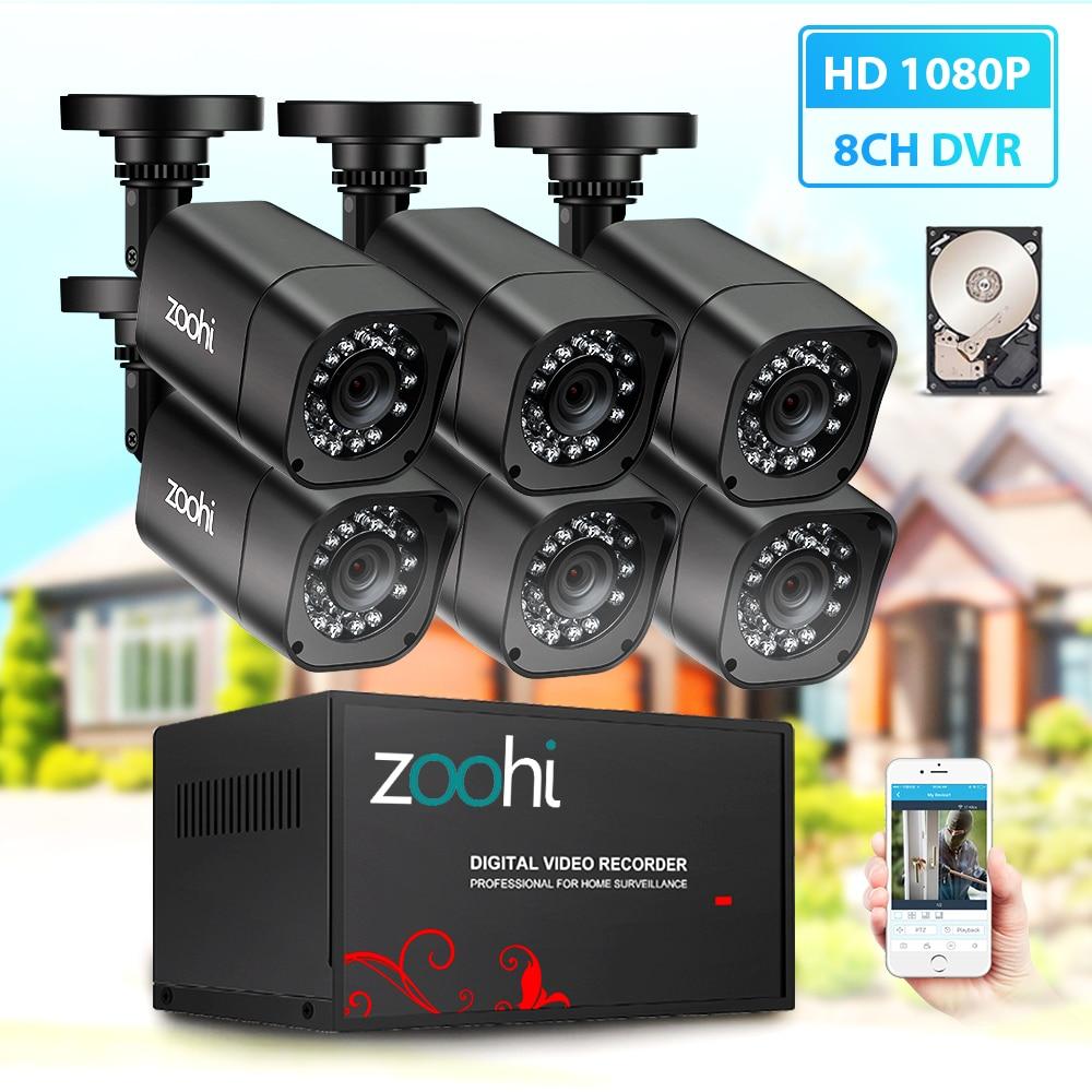 Zoohi système de caméra de vidéosurveillance 6CH 720 P/1080 P AHD caméra de sécurité DVR Kit CCTV étanche système de Surveillance vidéo à domicile extérieur HDD