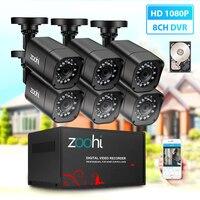 Zoohi system kamer CCTV 6CH 720 P/1080 P ahd kamera bezpieczeństwa zestaw dvr CCTV wodoodporna odkryty wideo z domu system nadzoru dysku twardego w Systemy nadzoru od Bezpieczeństwo i ochrona na