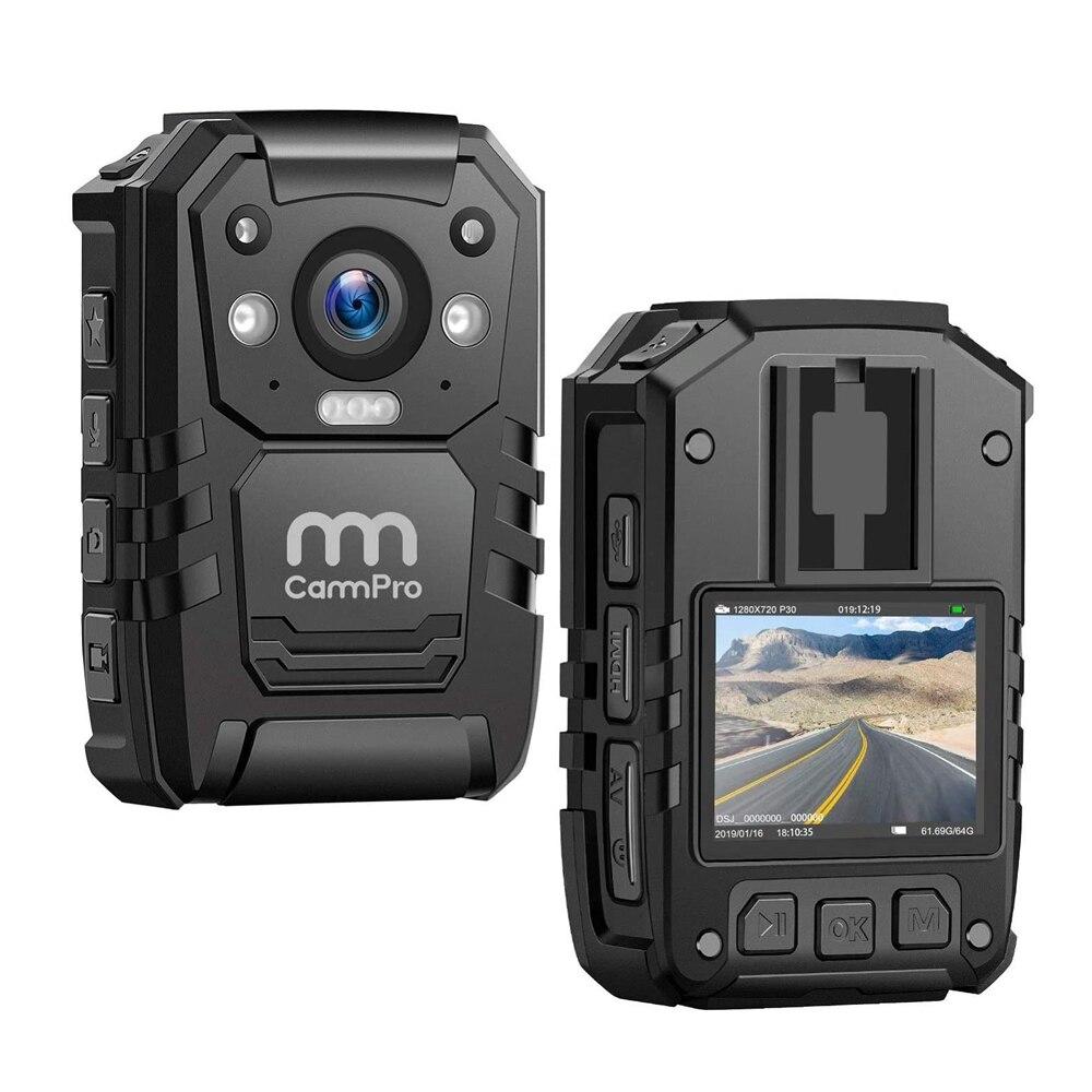 Cammpro I826 Police Body Cam 1296p Hd 128gb Premium Portable Body Worn Camera Recorder Ip66 Waterproof With Gps Night Vision
