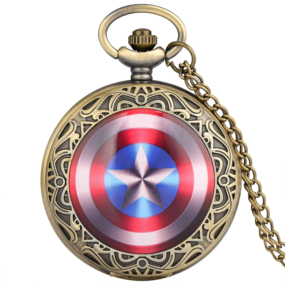 Top Famous Captain America Avenger Shield Quartz Pocket Watch Retro Full Hunter Steampunk Pendant Necklace Men Boy Kids Gifts