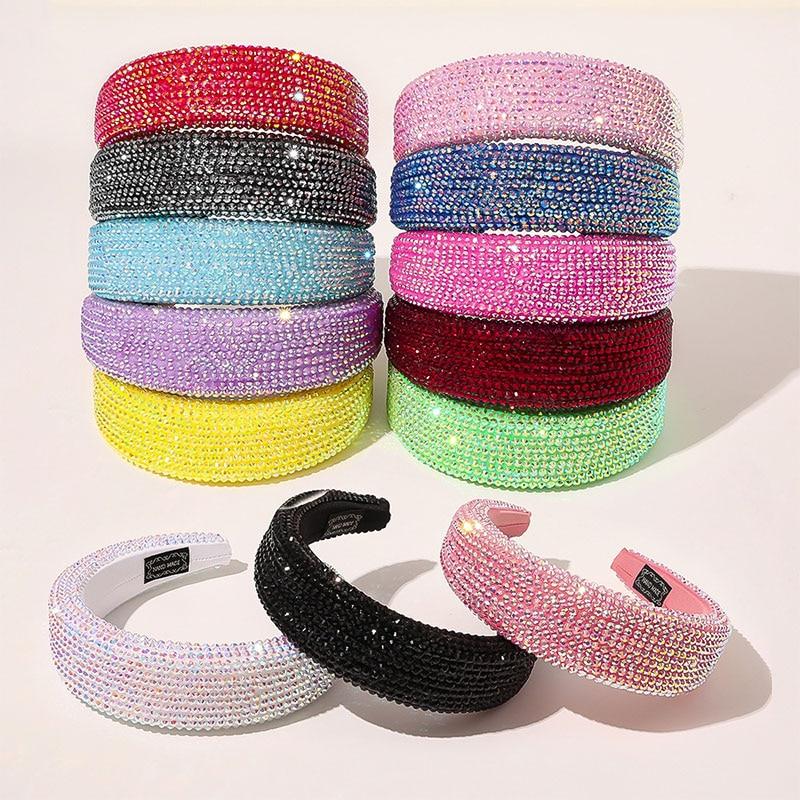 Diadema de ala ancha con cristales brillantes para mujer, diadema de lujo con diamantes de imitación, accesorios de punto de esponja, turbante para el cabello