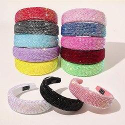 Luxury Shiny Full Crystal Head Hoop Wide-Brimmed Headband Women Rhinestone Headband Sponge Point Diamond Hair Accessories Turban