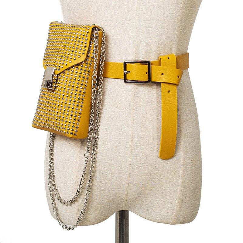 Women Waist Belt Bag Punk Rivets Fanny Pack Fashion Designer Waist Bag Hip Package Retro Chain Ladies Waist Pack Phone Pouch