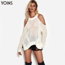2019 Fall YOINS Women Sweaters Pull Femme Autumn Winter White Hollow Design Cold Shoulder Sweater Irregular Hem Jumper Sexy Tops