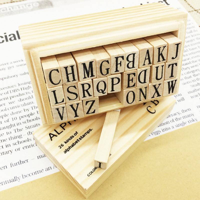 26pcs/box Letter DIY Retro English Alphabet Series Square Shape Wood Seal Scrapbooking Standard Stamp