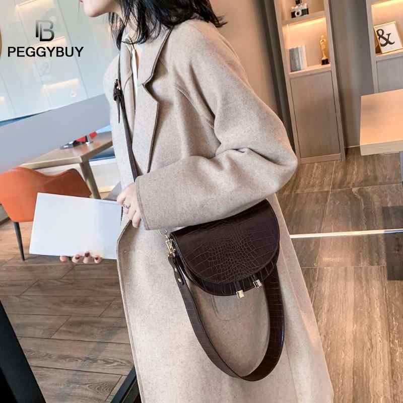 Luxo crocodilo padrão crossbody sacos para as mulheres metade redonda mensageiro saco de couro do plutônio bolsas bolsa de ombro sac principal femme