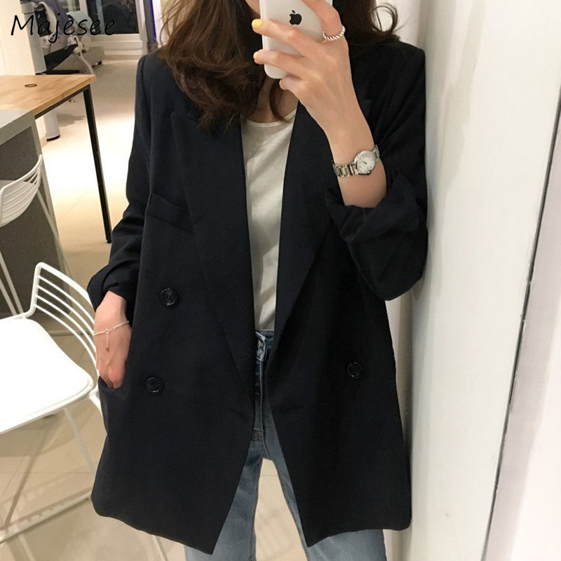 Blazers Women Solid Black Office Ladies Double Breasted All-match Plus Size 3XL Korean Style Casual Daily Womens Clothing Chic
