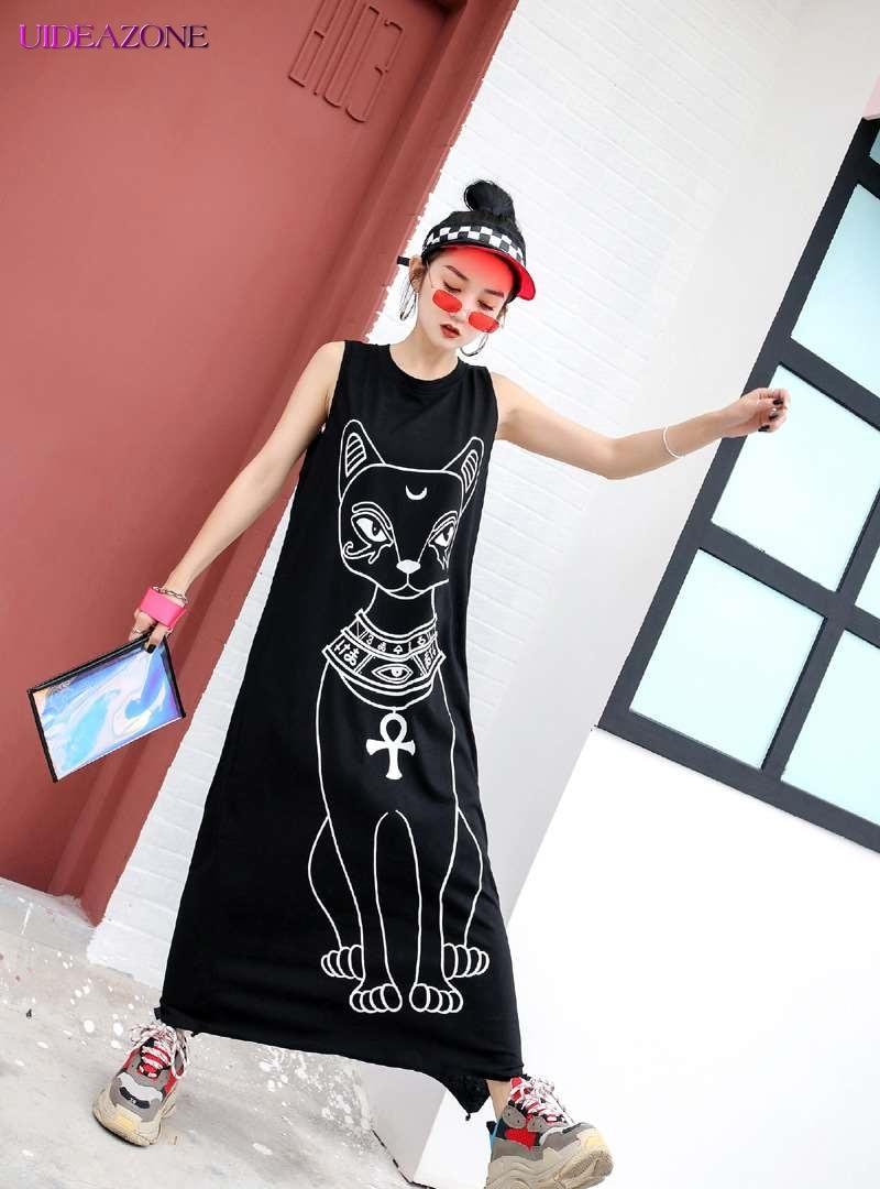 UIDEAZONE Summer Sleeveless Vest Dress Harajuku Casual Sketch Print Maxi Black Dress Women Loose Dress Streetwear Vestido