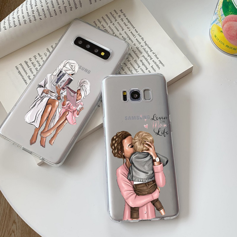 Fashion Mam Of Girl Boy Super Mom Cute Baby TPU Transparent Phone Case For Samsung Note8 Note9 Galaxy S6 S7 S8 S9 S10 Lite M10