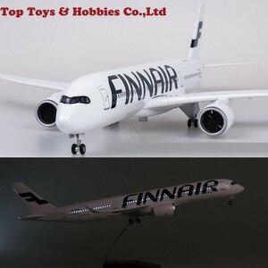47cm 1/142 A350 FINNAIR Airliner Model samolotu z lampką LED z podstawką z żywicy kolekcja Toy