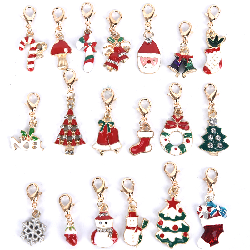 Enamel Red Christmas Bell Rhinestone Crystal Alloy Keychain Key Chain Ring Xmas