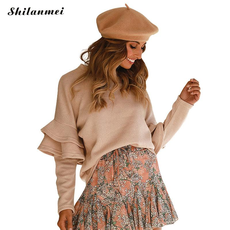 Knitted Pullovers Long Sleeve Ruffles Sweater 2019 Autumn Female Women Casual Khaki Loose Pullovers  Kawaii Sweater Sueter Mujer