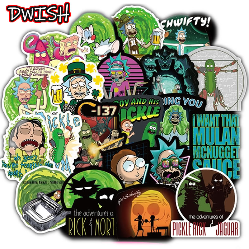 100pcs/Pack Cartoon Rick And Morty Funny Waterproof PVC Stickers Skateboard Suitcase Motorcycle Guitar Graffiti Sticker Kid Toy