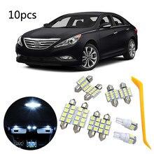 10 sztuk białe oświetlenie wnętrza led samochodów oświetlenie dekoracyjne lampka do czytania akcesoria samochodowe dla Hyundai Sonata 2011-2014