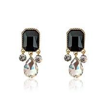 DREJEW Black Square Water Drop Rhinestone Statement Earrings Geometric Crystal Alloy 2019 Fashion Stud for Women HE0661