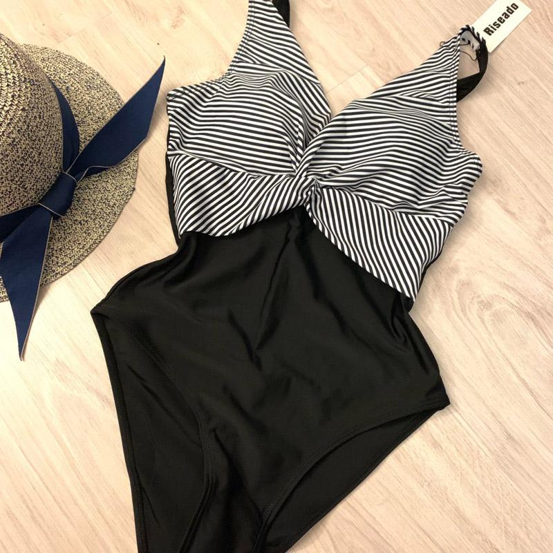 Riseado, винтажный сдельный купальник, полосатый купальник, для женщин, с глубоким вырезом, с рюшами, летняя пляжная одежда, U-back, из кусков, купал... 31
