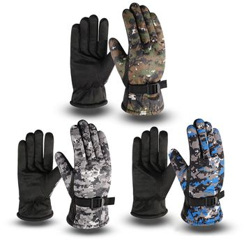 Mens Winter Waterproof Thermal Full Finger Gloves Thick Plush Lining Camouflage Print Anti-Slip Palm Adjustable Snow Ski Mittens - discount item  18% OFF Gloves & Mittens