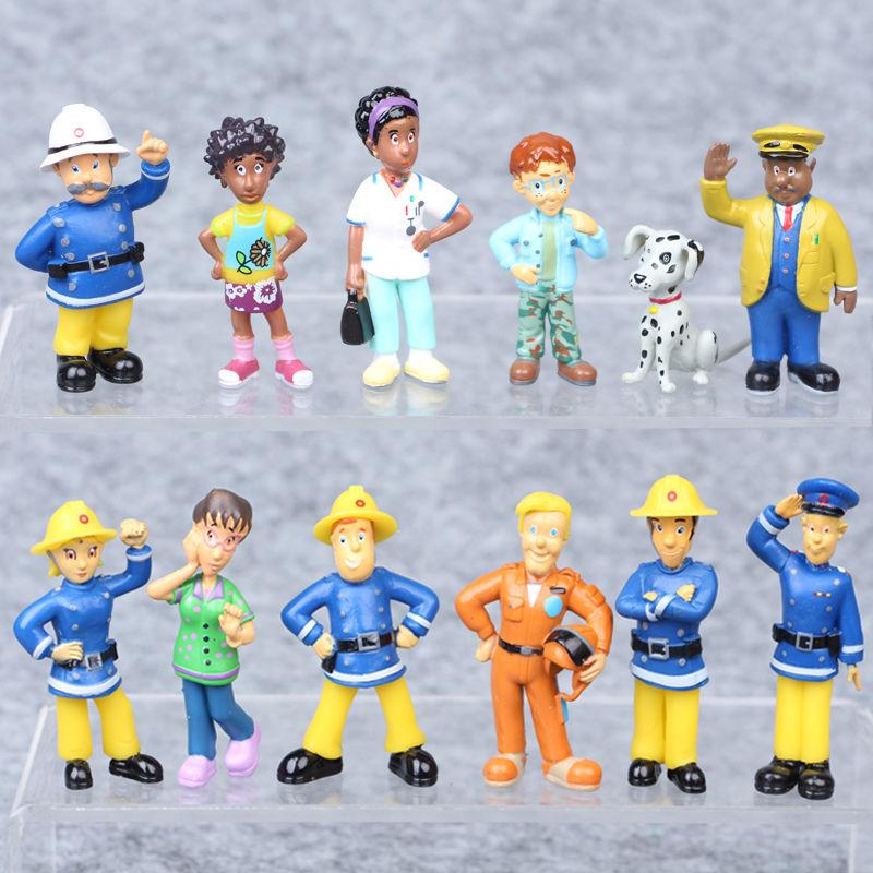 12Pcs/Set Cartoon Fireman Sam Figure Toys 3-6cm Cute PVC Dolls Toy Elvis Norman Kid Gift 3-6cm Dog Kids Toy Figures Collection