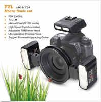 Meike MK-MT24 2,4G Беспроводная Макросъемка двойной Lite светильник для NIKON D800 D7000 D2 D3 беззеркальные камеры TTL
