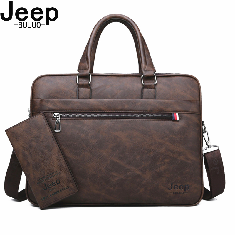 JEEP BULUO Famous Brand Men Briefcases High Quality 14'Laptop office Business Bag Leather Shoulder Messenger Bags Travel Handbag