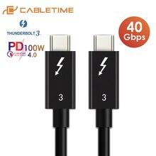 CABLETIME C tipi Thunderbolt 3 kablo PD 100W 40Gbps USB C kablosu sertifikalı süper veri transferi Macbook pro Matebook X 13 C274