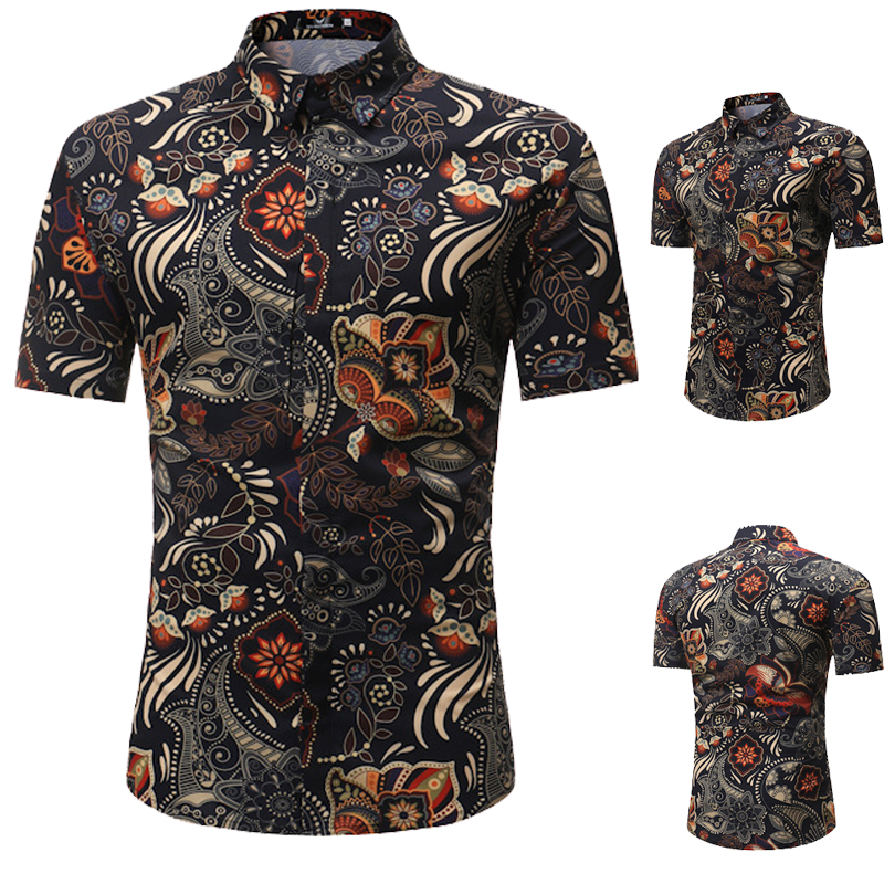 2020 Summer Mens Shirts Floral Printed Casual Tops Shirts For Men Lapel Collar Single Breasted Slim Fit Shirts For Men