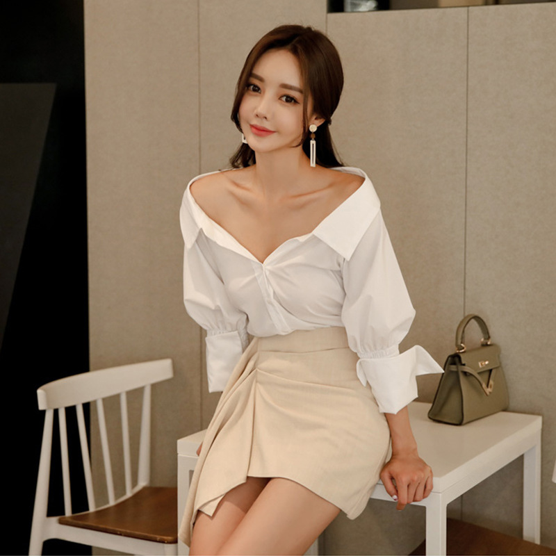 2019 Spring And Summer Korean-style Elegant Slimming V-neck Long Sleeve White Shirt Slim Fit Sheath Skirt Two-Piece Set