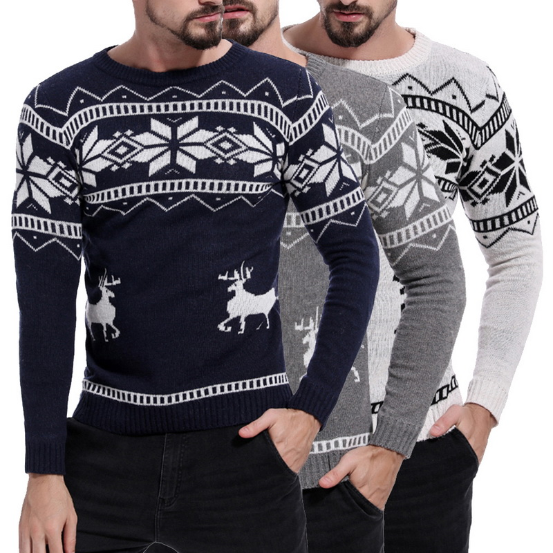 Mens Causal O Neck Sweater Deer Printed Autumn Winter Christmas Pullover Knitted Jumper Sweaters Slim Fit Male Clothes