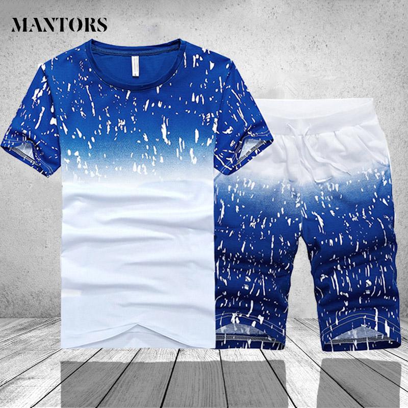 Tracksuit Men Summer Short Sleeve Casual Tshirt Shorts Mens Sweatsuit 2PC Tee Tops+Sweatpant Male Set Moleton Masculino 3XL 4XL