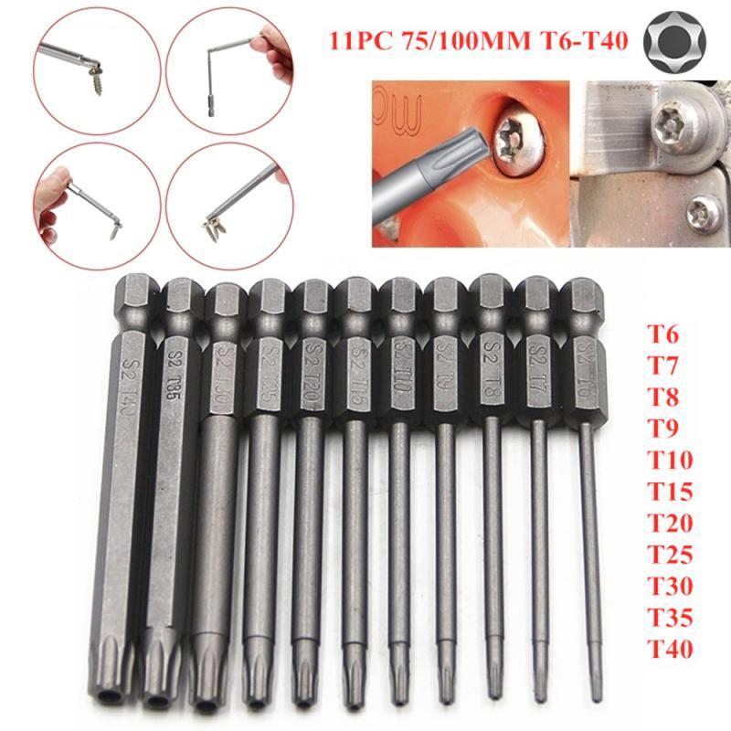 Длинные 75 / 100 мм Пустые торксовые отвертки, 11 комплектов, шестиугольные электрические сверла, набор инструментов для отвертки и отвертки, на...