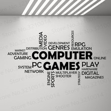 Word Cloud Computer Games Wall Vinyl Decal Boys Bedroom Decor Multiplayer Media Mural Decals Quotes Art Stickers Game WL208