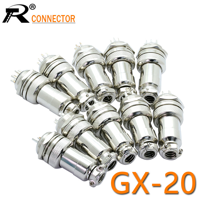 1Set GX20 XLR 2 3 4 5 6 7 8 9 10 12 14 Pin Female Plug 20mm Male Chassis Mount Socket Aviation Circular Connector
