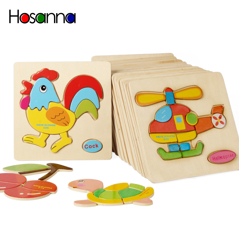 Baby Wooden Puzzle Toys for Toddlers Developing Jigsaw Educational Kids Toys For Children Game Cartoon Animal Gift 3 Years(China)