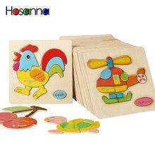 Rompecabezas de madera para bebé, juguete educativo para niños pequeños, juguete educativo para niños, regalo de animales de dibujos animados, 3 años