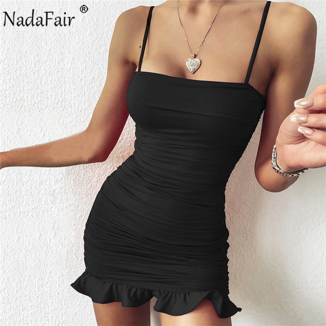 Nadafair Ruffles Sexy Dress Women Summer Party Clubwear 2021 Spaghetti Strap Ruched Bandage Mini Short Bodycon Women's Dress 3