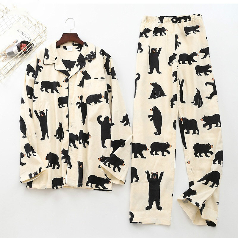 Cute White Bear 100% Brushed Cotton Men Pajama Sets Autumn Casual Fashion Animal Sleepwear Men Homewear Sexy Pijamas