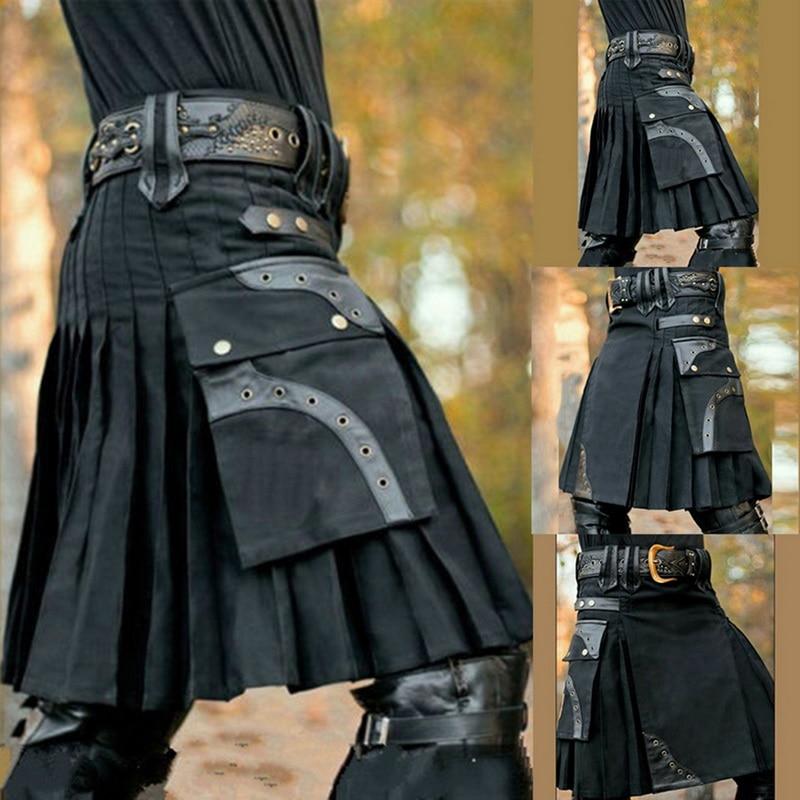 Scottish Mens Kilt Traditional Skirt 2019 Autumn Retro Gothic Knight Trousers Casual Black Pocket Knee Length Kilts Skirts Pants