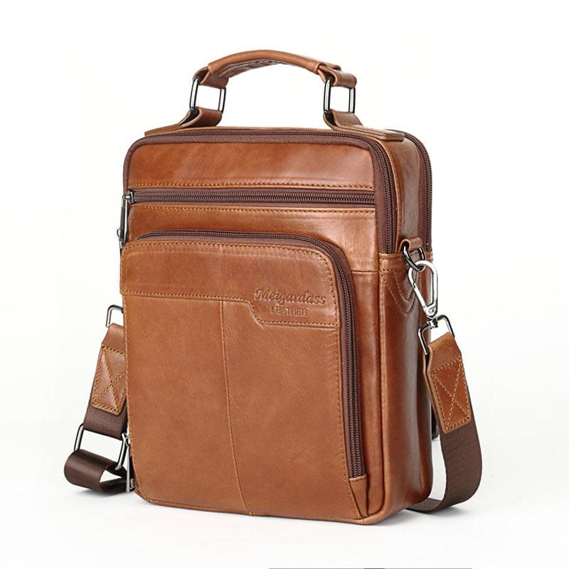 Brown Men Bag High Quality Genuine Leather Men Handbags Vertical Cowhide Leather Messenger Bags  Casual Men's Shoulder Bag