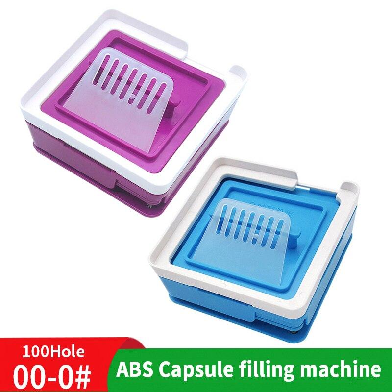 00 #0 # azul negro ABS 100 máquina de agujero de pegamento Manual Cápsula de llenado de polvo Placa de llenado Manual de cápsula