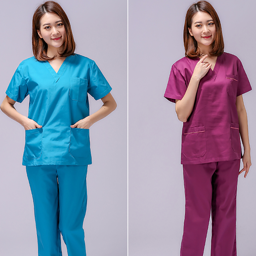 2019 Summer Women Hospital Medical Scrub Clothes Set Fashionable Design Slim Fit Dental Scrubs Beauty Salon Men Nurse Uniform