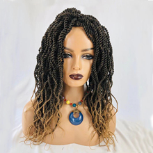 Box Braided Wigs for Black Women Straight Ombre Color Box Braiding Hair Glueless None Lace Front Wig
