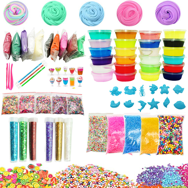 24 Colors  DIY Slime Kit Supplies Clear Crystal Slime Making Kit Slime Foam Beads Glitter Fruit Slices Fishbowl Beads Included