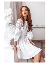 Women's Retro White Hollow Lace Puff Sleeve Waist Dress Stitching Cotton Court XL Size Summer 2020 Women
